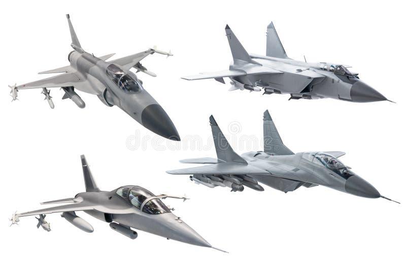 设置在白色背景隔绝的作战军用军队喷气式歼击机飞机 库存照片