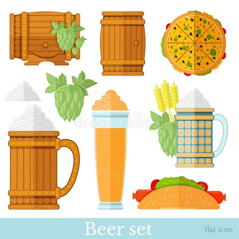 设置在白色隔绝的啤酒平的象 木桶,蛇麻草,比萨,杯子,玻璃,泡沫 向量例证