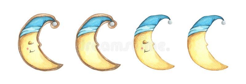 设置在睡帽的微笑面孔曲奇饼新月形月亮 皇族释放例证