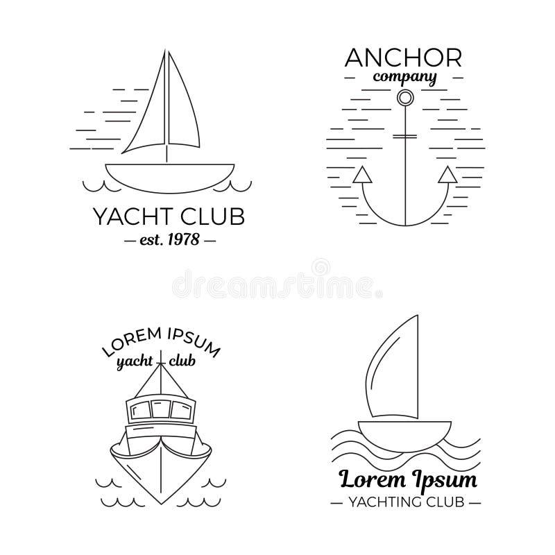 设置在稀薄的线型的四个游艇俱乐部商标 向量例证