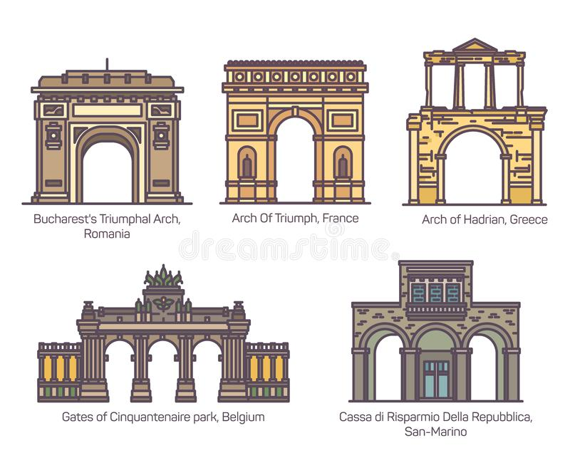 设置在稀薄的线的欧洲著名曲拱 皇族释放例证