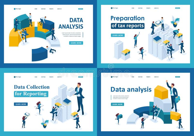 设置在等量概念的登陆的页 搜集数据和报告报税表的 库存例证