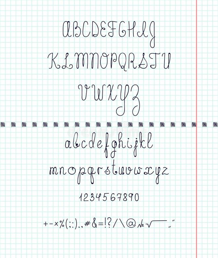 设置在纸的资本英国手写字体 手工制造的字体 信件,数字,标志,标志图片