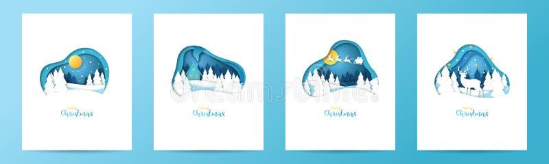 设置在纸被削减的样式的圣诞卡片 皇族释放例证