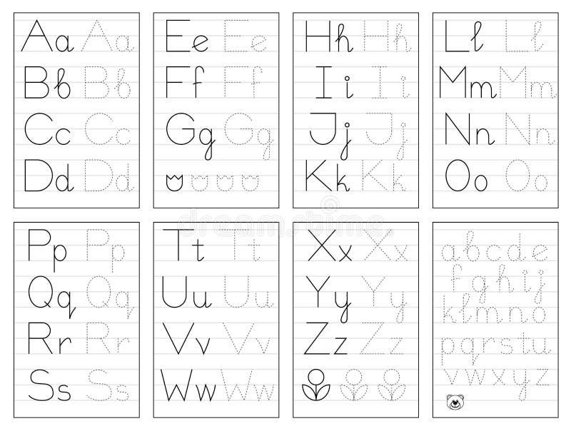 设置在线的黑白教育页孩子的 踪影字母表信件 儿童课本的可印的活页练习题 向量例证