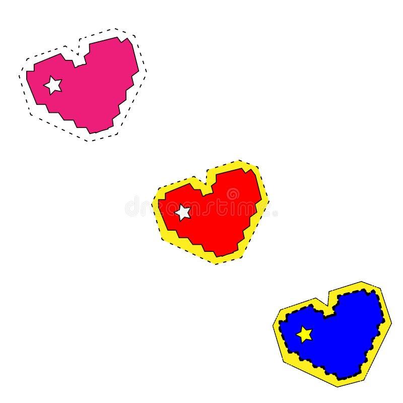 ? 设置在绘画风格的心脏 向量例证