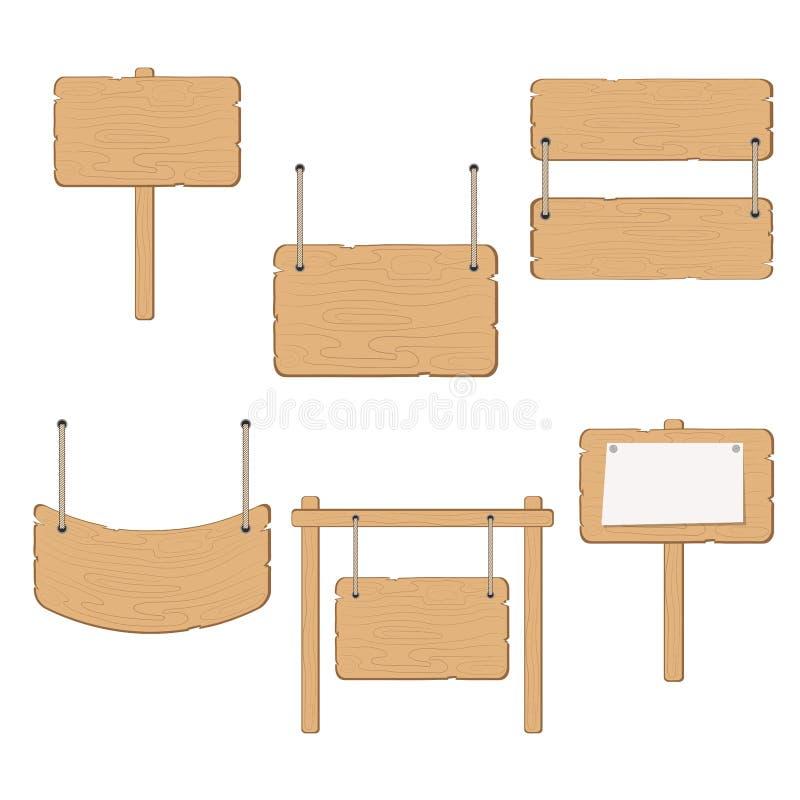 设置在绳索的木信息委员会标志吊在白色,储蓄传染媒介例证 向量例证