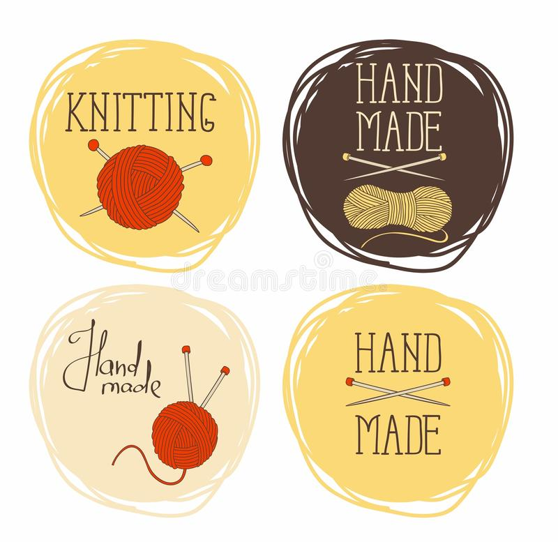 设置在编织的圆样式题材  它可以为贴纸和标签使用 皇族释放例证