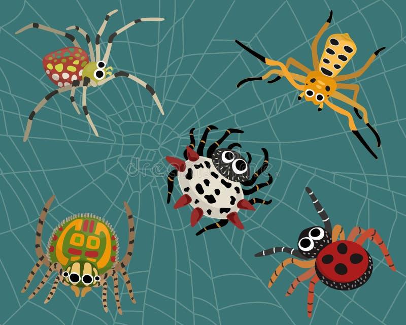 设置在蜘蛛网背景的五颜六色的蜘蛛 向量例证