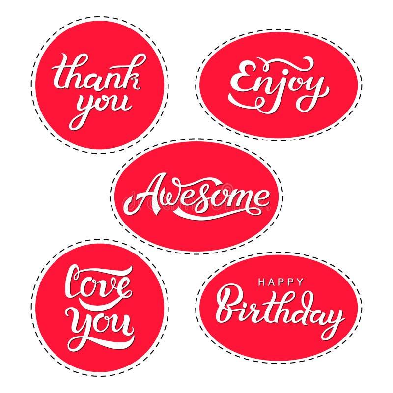 设置在行情贴纸上写字-谢谢,享用,令人敬畏,爱您,生日快乐 装饰的礼物标签 库存例证