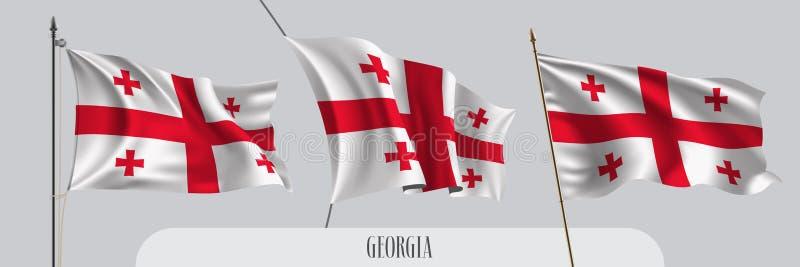设置在被隔绝的背景传染媒介例证的乔治亚挥动的旗子 皇族释放例证