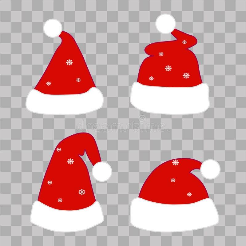 设置在透明背景的圣诞节帽子 向量 库存例证