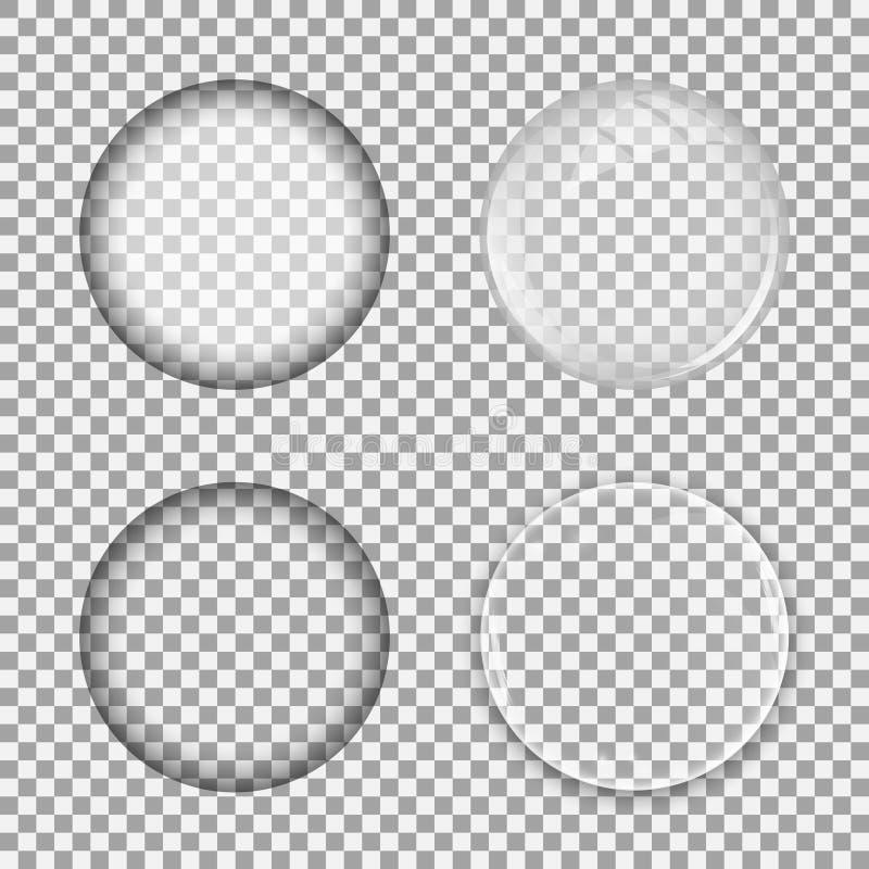 设置在透明背景的玻璃透镜 向量例证