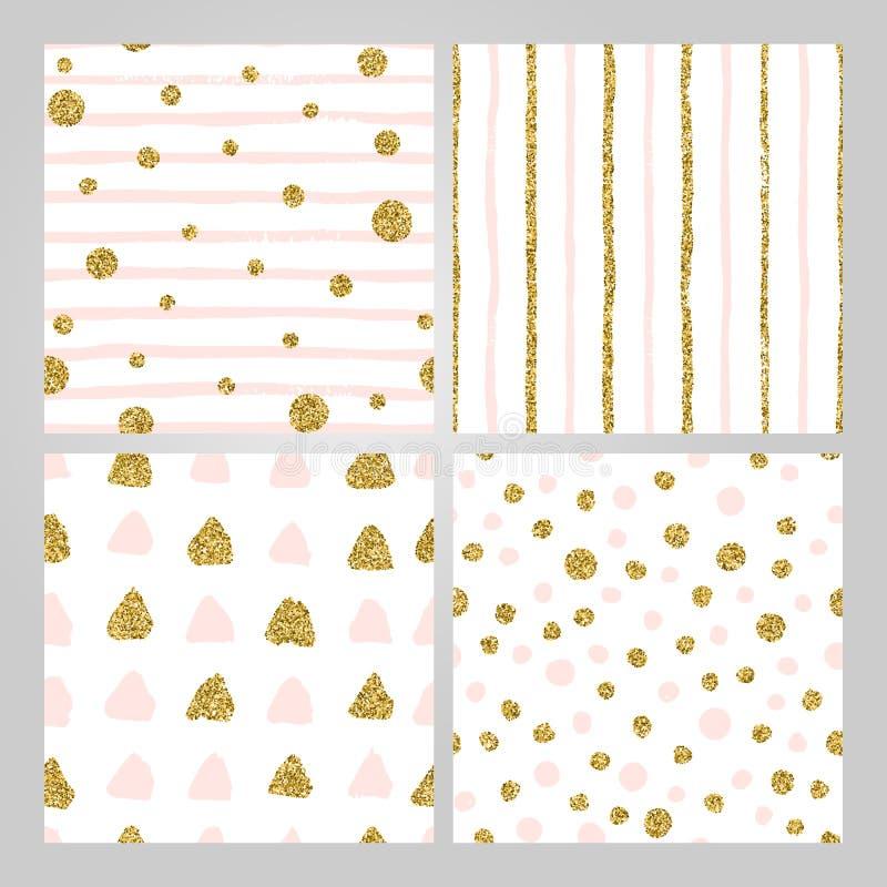 设置在金子的4个手拉的无缝的样式,粉红彩笔 条纹,圆点,三角,圆的刷子冲程样式 皇族释放例证