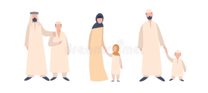 设置在阿拉伯全国礼服的字符有孩子的 回教传统家庭 向量例证