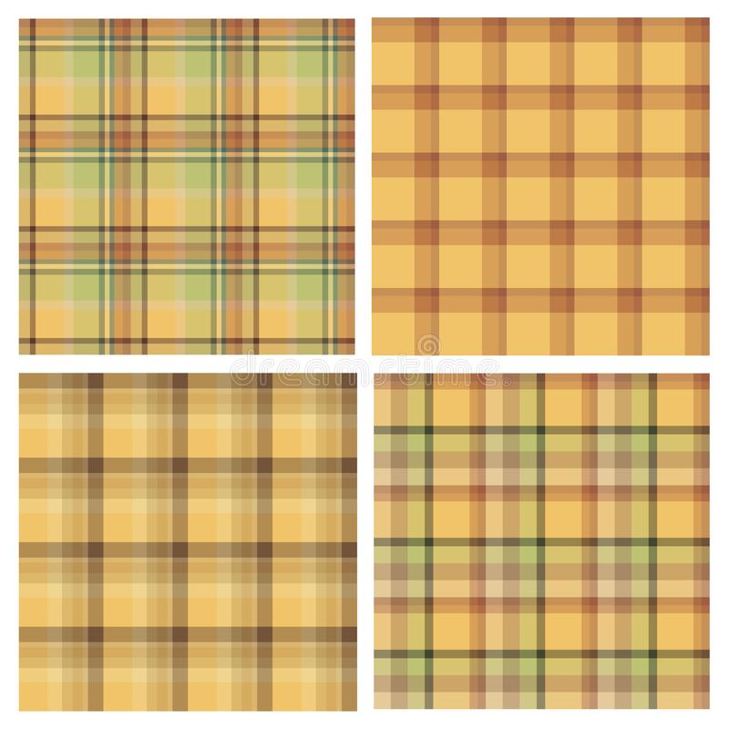 设置在黄色口气的无缝的样式格子花呢披肩、织品、纺织品、衣裳、桌布和其他事的 库存例证
