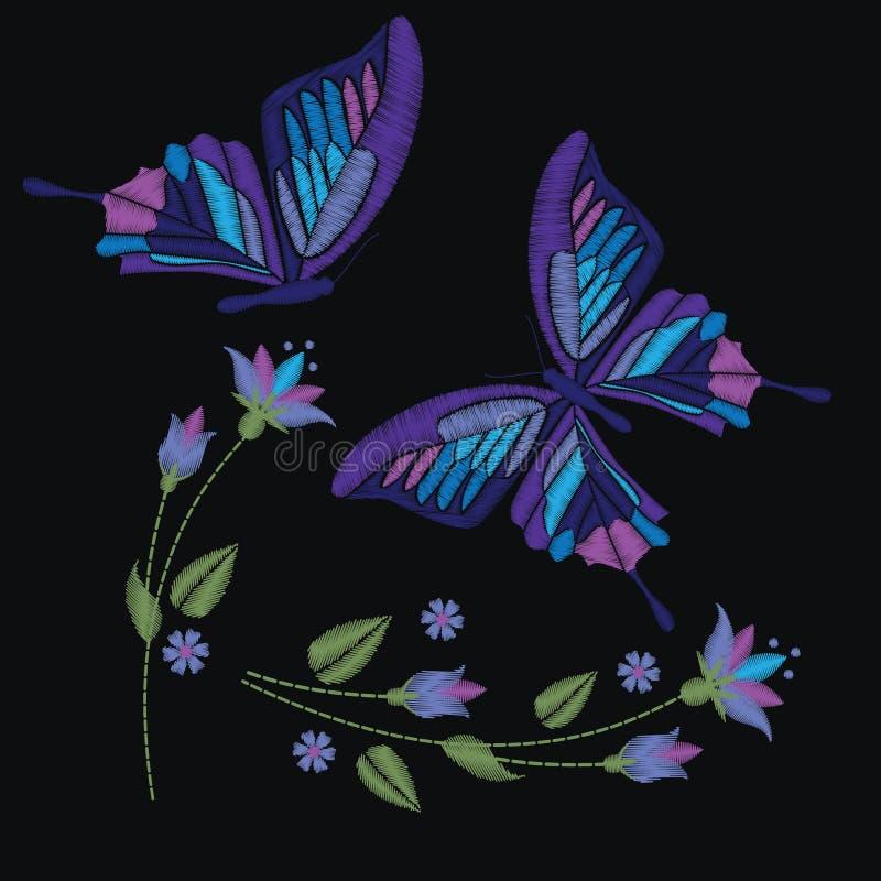 设置在黑暗的背景和花的隔绝的汇集蝴蝶 也corel凹道例证向量 补丁的刺绣元素,坏 皇族释放例证