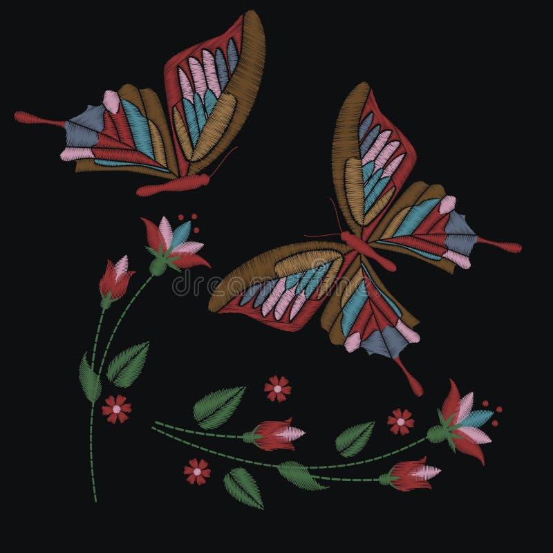设置在黑暗的背景和花的隔绝的汇集蝴蝶 也corel凹道例证向量 补丁的刺绣元素,坏 库存例证