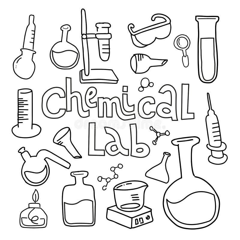 设置在黑白色被概述的乱画样式的实验室设备 手拉的幼稚化学和科学象集合 元素, 向量例证