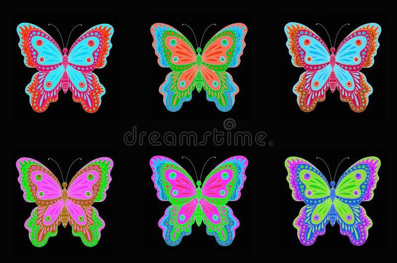 设置在黑背景的装饰五颜六色的蝴蝶 向量例证