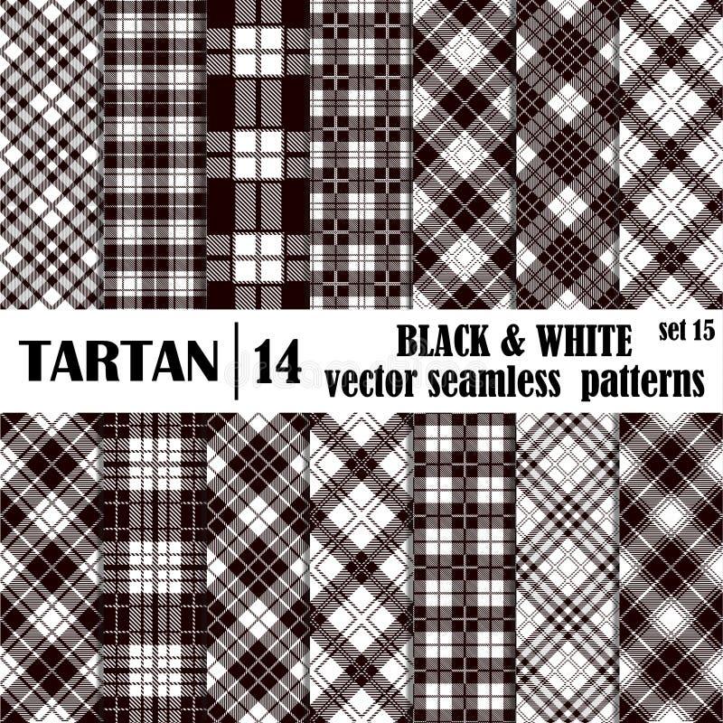 设置在黑白颜色的格子呢无缝的样式 库存例证