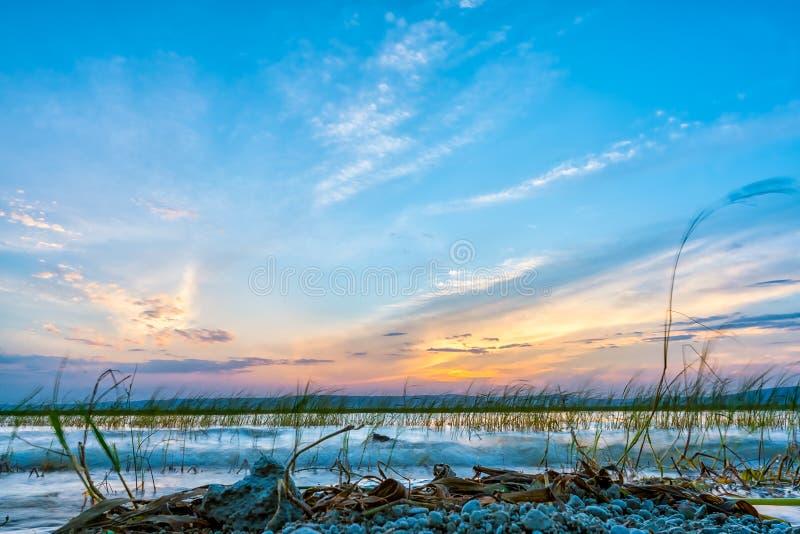 设置在Hawassa湖的太阳 免版税库存图片