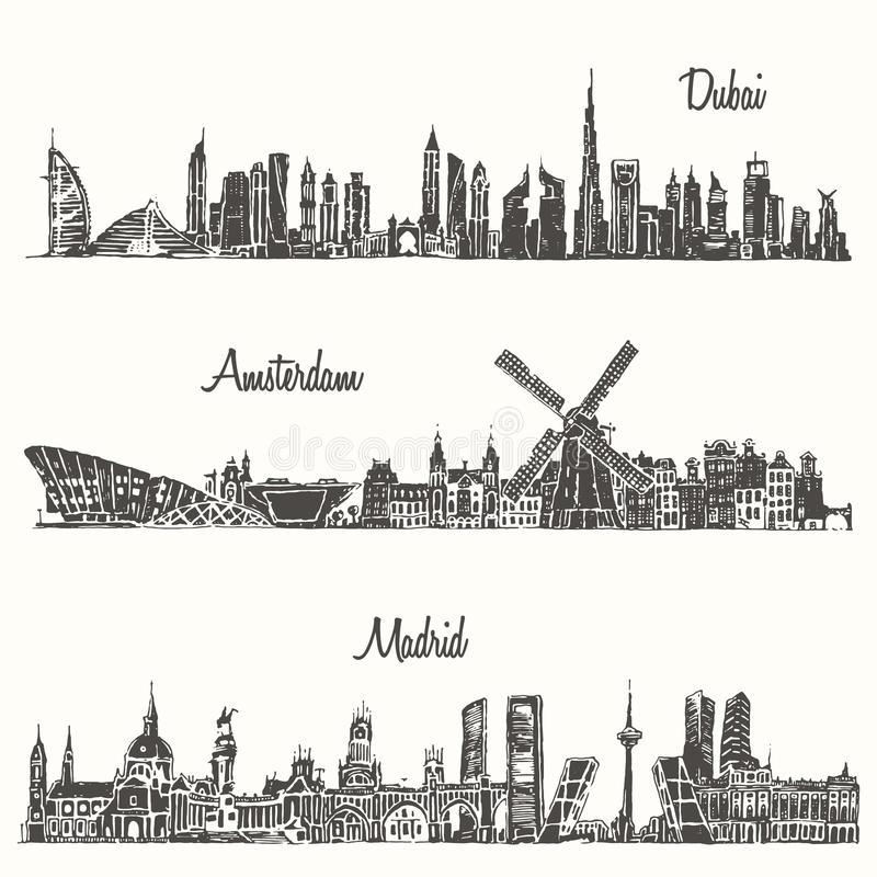 设置地平线迪拜马德里阿姆斯特丹被画的剪影 库存例证