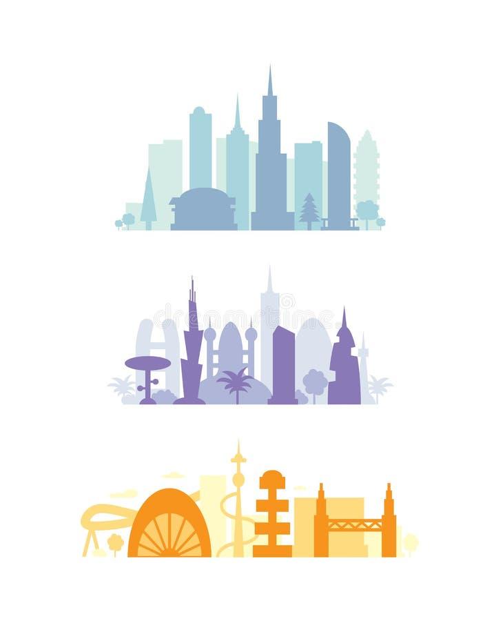 设置城市大厦剪影 都市风景今后 现代镇元素传染媒介例证 向量例证