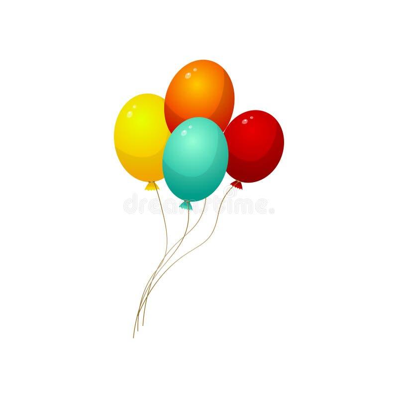 设置城市马戏介绍的螺纹五颜六色的气球 库存例证
