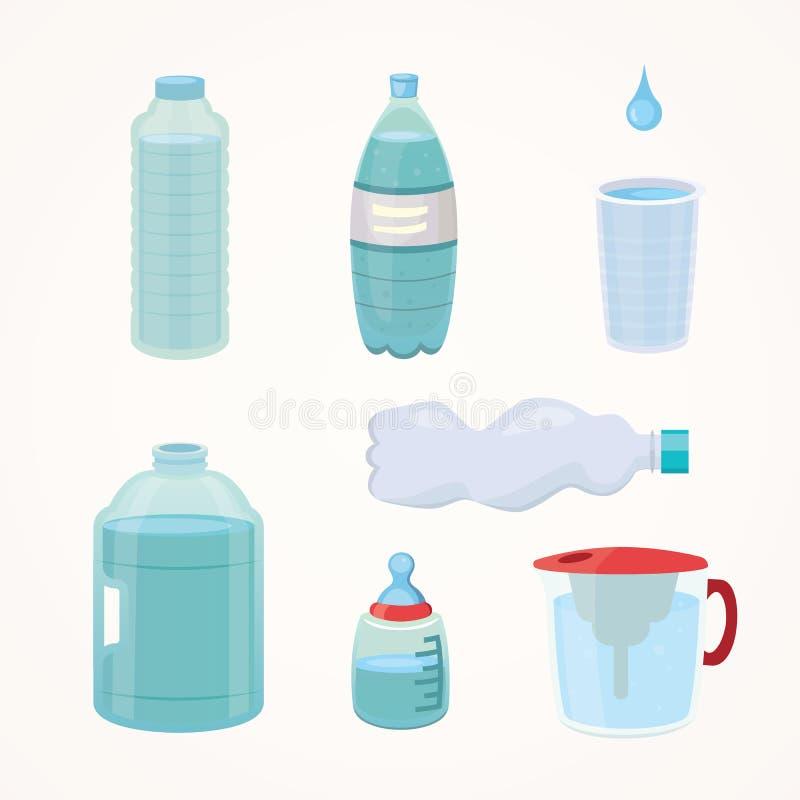 设置塑料瓶纯净的水,在动画片样式的另外瓶设计传染媒介例证 免版税库存图片