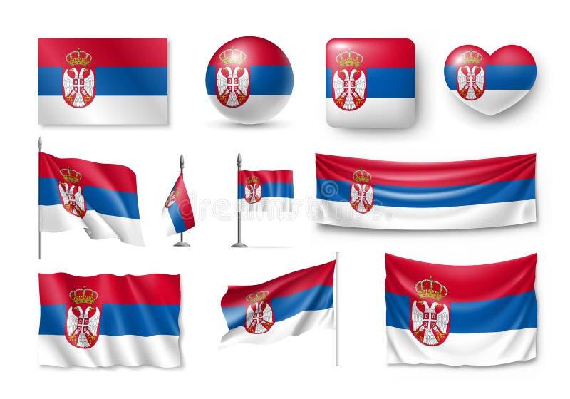 设置塞尔维亚旗子,横幅,横幅,标志,平的象 库存例证