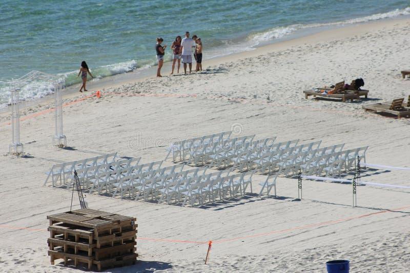 设置墨西哥湾的海滩婚礼 库存图片