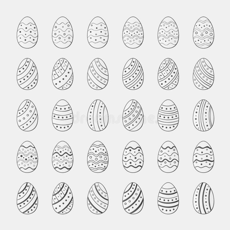 设置复活节彩蛋剪影象  库存例证