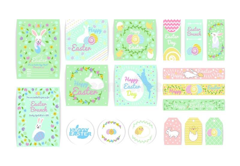 设置复活节横幅、贺卡和标签模板与兔宝宝,复活节彩蛋 向量例证