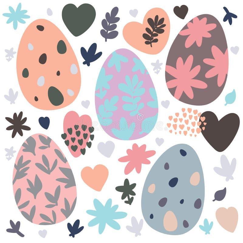 设置复活节设计元素 鸡蛋,花,分支,心脏,样式 为假日装饰和春天贺卡完善 皇族释放例证