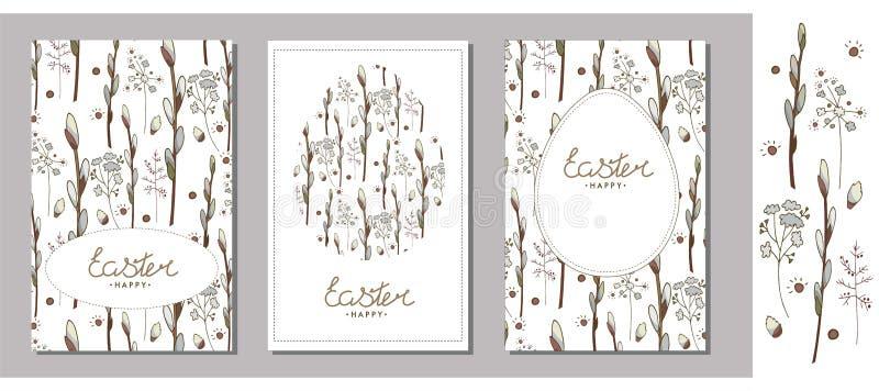 设置复活节贺卡、模板与杨柳分支,草本和鸡蛋 在a和草本隔绝的杨柳分支 向量例证