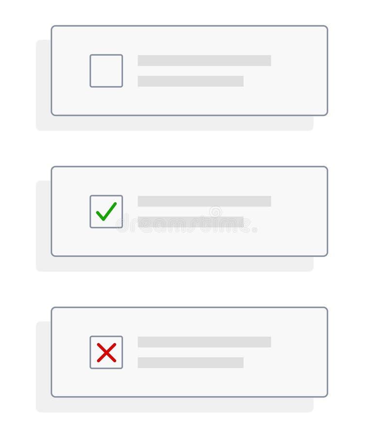 设置复选框容器/占位符与壁虱检查、十字架和空白 库存例证