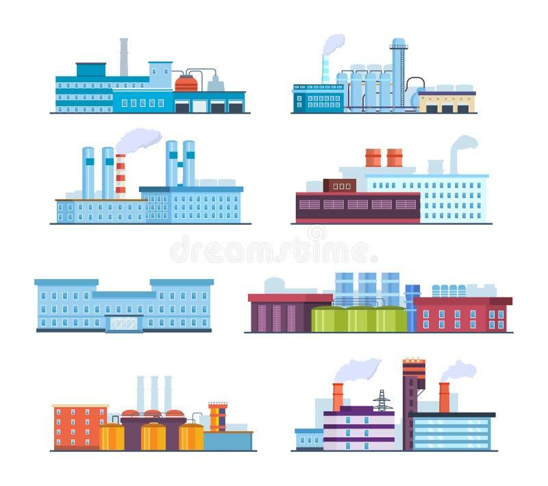 设置大厦:工业,化工,氦气植物,油,行政大厦,医院 皇族释放例证