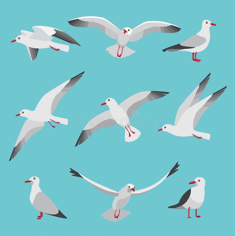 设置大西洋海鸥的例证在动画片样式的 鸟的图片用不同的姿势 皇族释放例证