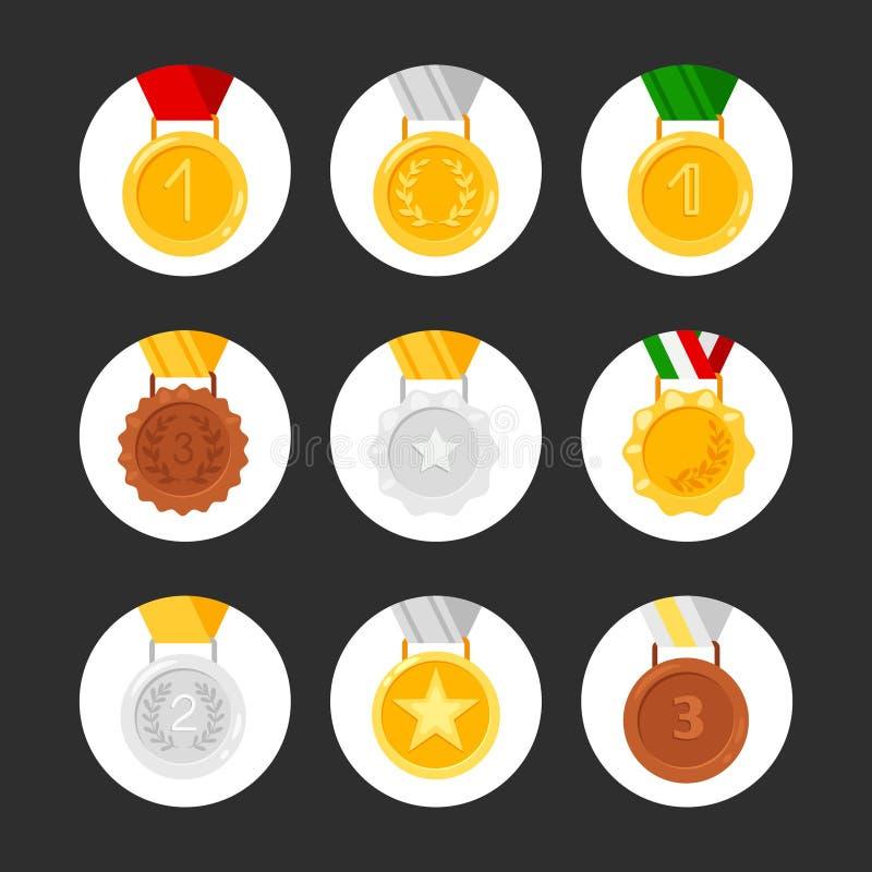 设置奖牌传染媒介象 金黄,银色,古铜色奖 皇族释放例证