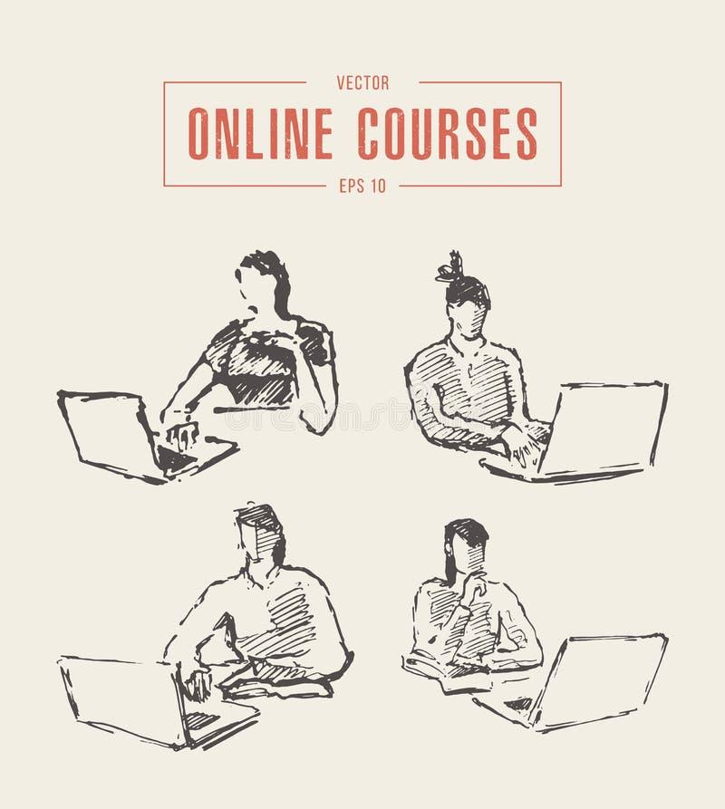 设置女孩膝上型计算机教育网上课程传染媒介 向量例证