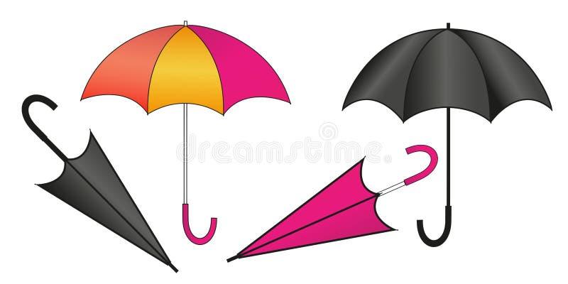 设置女性和男性伞用不同的位置 背景查出的白色 向量例证