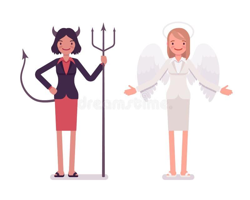设置女性天使和恶魔 向量例证