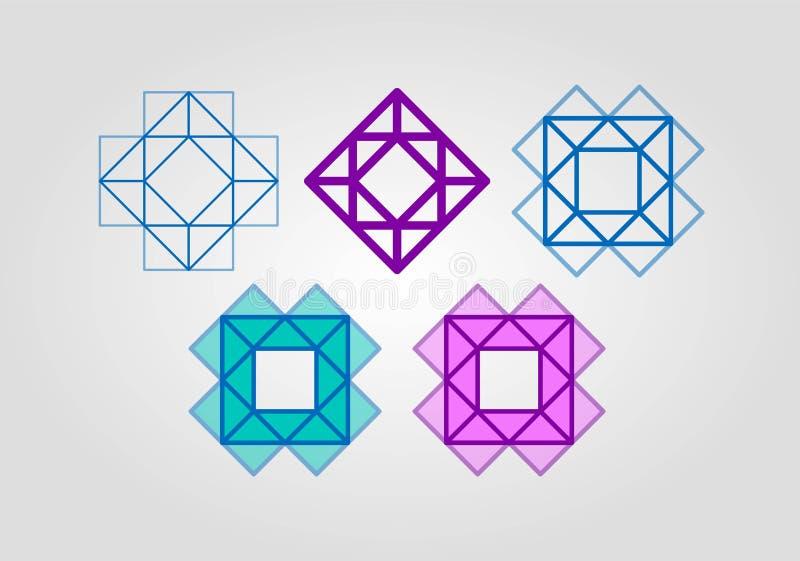 设置好颜色商标 创造性的方形的三角金刚石商标设计模板 设计商标 库存例证