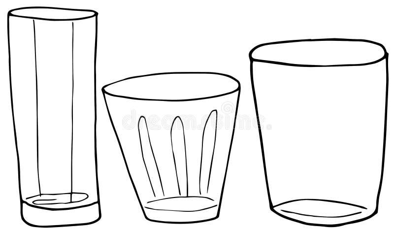 设置威士忌酒、饮料和鸡尾酒的手画的酒精玻璃 o 库存例证