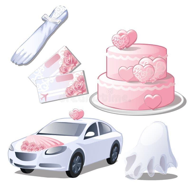 设置婚礼辅助部件被隔绝在白色背景 手套、婚姻的邀请或者票蜜月的,蛋糕, 皇族释放例证