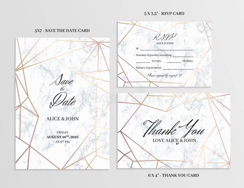 设置婚礼 拟订几何设计模板  库存例证