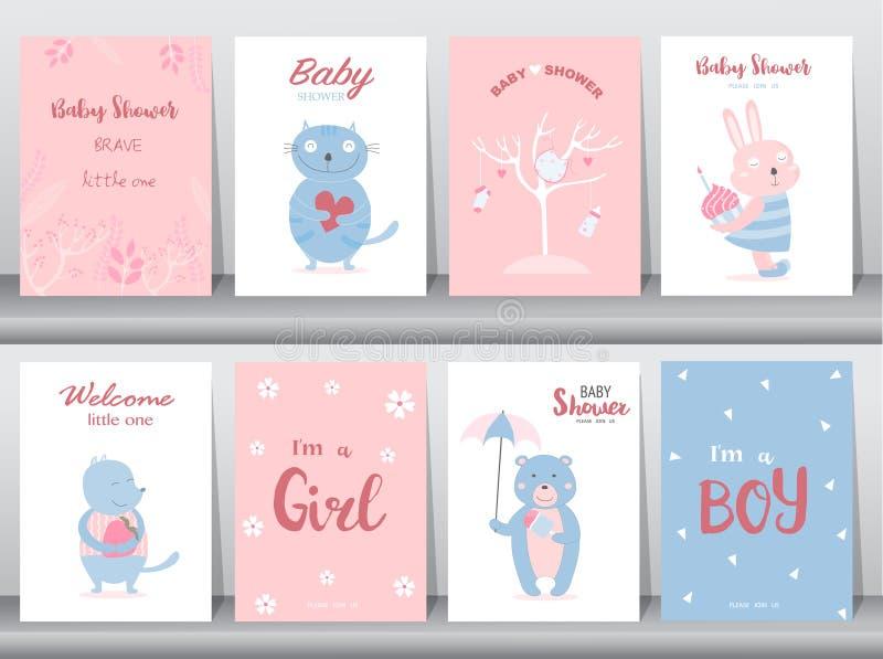 设置婴儿送礼会邀请卡片,海报,问候,模板,动物,逗人喜爱,猫,兔子,熊,传染媒介例证 向量例证