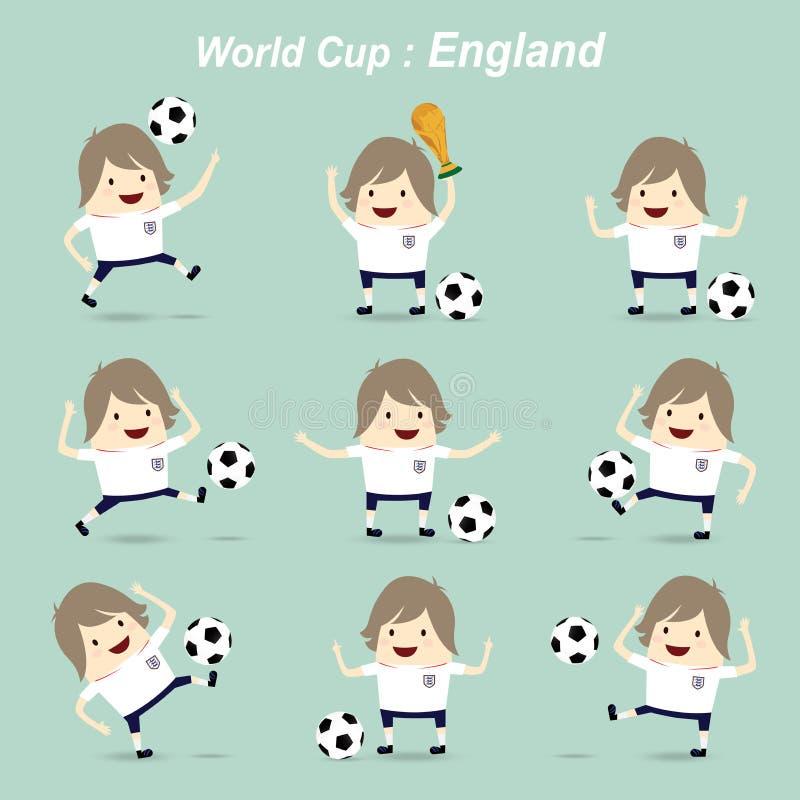 设置字符橄榄球行动球员英国国家队, wor 向量例证