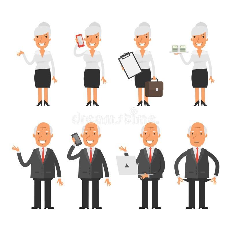 设置字符老女商人商人 向量例证